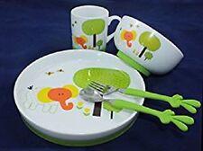 5-tlg Kinder-Geschirr-Set mit Anti-Rutsch Silikonboden und Besteck Grün