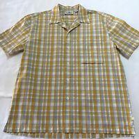 Colorado Men's Button up Short Sleeve Shirt Mustard, Grey & White Size Large
