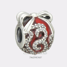 Authentic Pandora Silver Red Enamel Bright Ornament CZ Bead 796259EN07 *SPECIAL!