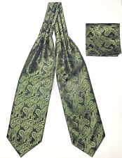 Men's Olive Green Paisley Italy Design Free Style Casual Ascot Cravat And Hanky