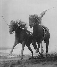BOLD RULER VS. GALLANT MAN 1957 WOOD HORSE RACE RACING 8x10 PHOTO RARE!