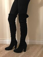 Size 8 Miss Pap Black Faux Suede Tight Thigh High Boots Heels NEW Chic Classy