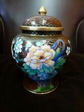 Vintage Chinese Oriental Enamel Cloisonne metal brass lidded ginger jar Quality