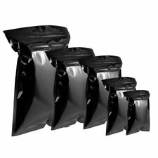 100Pcs Black Glossy Zip Bags Aluminum Foil Mylar Lock Pouches Food Grade Package