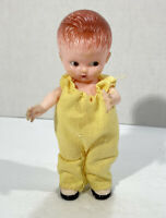 "Vintage 1960s Knickerbocker Plastic Baby Boy Character Doll 6"" Tall"