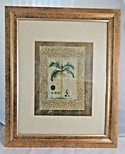 """Palm Tree Painting in Gold Frame 17"""" x 14"""" Signed by Artist"""