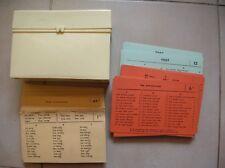 Lot de fiches test d'entrainement test scolaire de 1960 avec boîte
