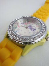 BRAND NEW COVERED WITH CRYSTALS HELLO KITTY YELLOW SILICONE WATCH
