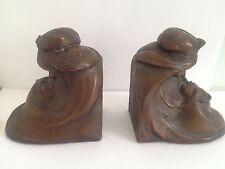Vintage Bronze Clad Man &Woman Kissing Book Ends Kathodian Bronze Works K.B.W.