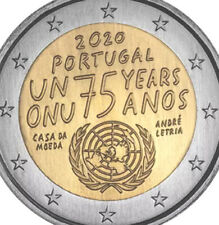 Portugal 🇵🇹 Coin 2€ Euro 2020 Comm. 75y United Nations UN ONU UNC F.Roll
