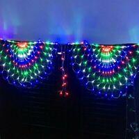 2PCS 444LED Peacock Curtain String Lights 3*1M Net Mesh Fairy Window Light Xmas
