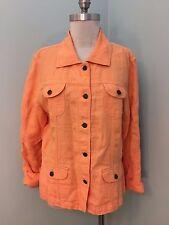 J Jill L P Peach 100% Linen Jacket Casual Excellent