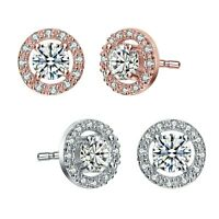 Rozatto Rhodium Plated Clear Round Cubic Zirconia Halo Stud Earrings