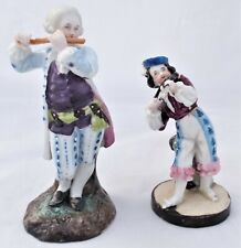 Antique 19th C Pair of Continental Porcelain Musician Figurines Prob German 1890