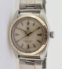 .Vintage Rolex Oyster Bubble Back Steel & 14K Gold Automatic Watch Ref 5011
