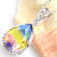 Newest Colored Dazzling BI-COLORED Tourmaline Silver Chain Pendants Necklaces