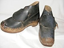 ANTIQUE WOODEN CLOGS WITH IRON HORSESHOES ON SOLES 25 CMS LENGTH