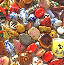 Destash SALE Mixed Chinese Raku Ceramic Beads Over 1lb Lot Q1 Pkg Free Shipping