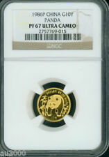1986-P PROOF GOLD 1/10 Oz PANDA NGC PF67 PR67 CHINA 10Y 10-YUAN YN !