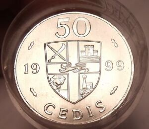 Gem Unc Roll (20 Coins) Large Ghana 1999 50 Cedis coins~Double Drums
