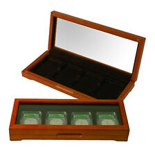 4 Slab Coin Box for Certified Graded Coin Wood Display Chest NGC PCGS ANACS ICG