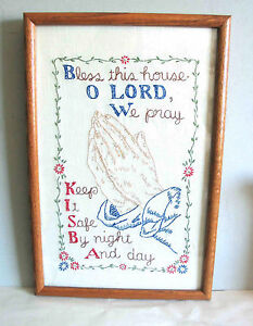 Hand Made Embroidered Needlework BLESS THIS HOUSE Frame Glass 18 FREE SH