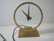 JEFFERSON GOLDEN HOUR Gold/Glass ELECTRIC CLOCK Art Deco VTG Not Working 580-101
