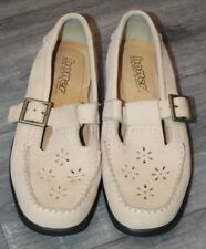 NEW WOMENS HOTTER RISE SHOES BEIGE NUBUCK LEATHER UK 4.5 BUCKLE FASTENING