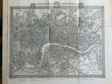 1848 London City Plan Original Antique Map by Creighton & Walker 172 Years Old