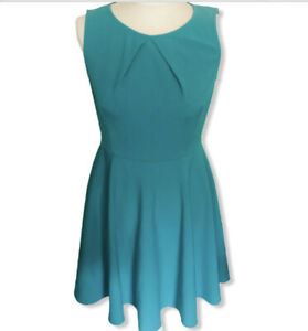 Mariko Women's Teal Turquoise Skater Dress Size UK 10 Fit And Flare
