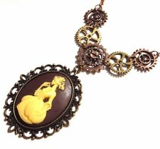 VICTORIAN SKELETON LADY CAMEO STEAMPUNK NECKLACE pendant gears bib clockwork 5H