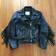 Vintage Women's FUREAL Leather Black Motorcycle Jacket Size 10 Made In USA