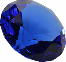"Dark Blue  Crystal Glass Diamond Jewel Huge Paperweight 4"" 100mm"