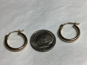 SOLID 14K YELLOW GOLD Classic Smooth Polished 2mm Tube Hoop Earrings ~ .6 GRAMS