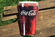 Coca-Cola Bell Fountain Glass Embossed Tin Metal Sign -  Ice Cold Coke - Retro