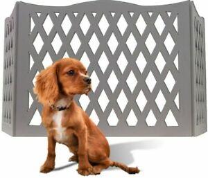 "Etna 3 Panel Wood Gray Pet Gate Diamond Desin Freestanding Dog Fence 48""W x 19""T"