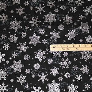 Holiday Flourish Black Snowflakes Metallic Christmas Fabric 1/2 Yard  #19920-181