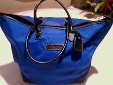 2 Adrienne Vittadini  Tote Duffel Bag Luggage Green / Blue Nylon Leather