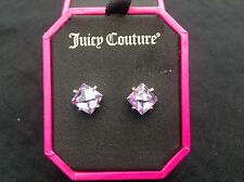 NIB Juicy Couture New Genuine Gold Plated Purple Crystal Stud Earrings (Pierced)