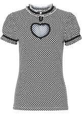Maglia t-shirt cuore a quadretti XS