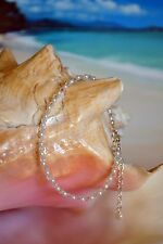 Silver Anklet 7 to 9 inches Crystal Pearl, Swarovski Crystal & Italian .925