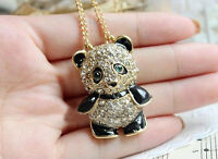 Top Rhinestone Crystal Panda Sweater Chain Girl Cute Animal Pendant Necklace