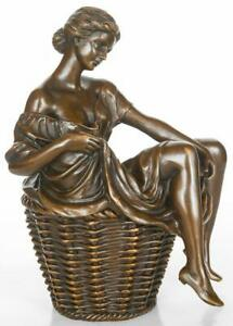 Erotic Bronze Sculpture - Lady seated in Basket - Wearing no Underwear - Risque