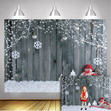 Snowman Christmas Photo Backdrop Rustic Wood Wall Background Xmas Party Supplies