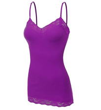 38c80da23852d Womans Basic Lace Trim Spaghetti Strap Cami Tank Top.
