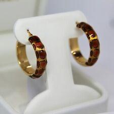 Leopard Print Enamel Hoops 14K Yellow Gold Earrings Brand New