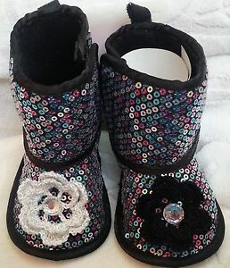 NEW SILVER BLACK FAUX SUEDE SEQUIN BOOTS SLIPPERS GIRLS BABY INFANT 6 9 MONTHS
