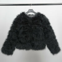 Real Ostrich Feather Fur Coat Outwear Winter Thick Jacket Women Top Quality51002