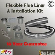 7m of 6 inch Flexible flue liner & installation kit 4 use with woodburning stove