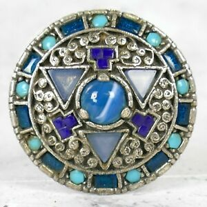 Vintage Miracle Brooch, Scottish Celtic Turquoise Blue Glass / Agate Signed |91